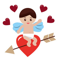 cute cupid sitting in love heart arrow valentine vector image