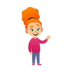 cute little redhead girl standing and waving hand vector image