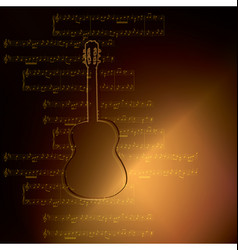 Dark gold background with guitar and music notes vector