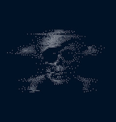 Digital skull and crossbones on binary code vector