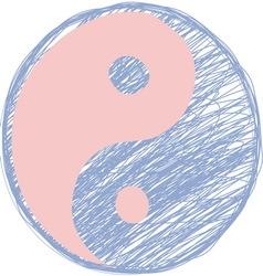Doodle yin yang symbol Rose quartz and serenity vector