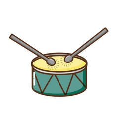 Drum and drumsticks isolated icon vector