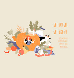 eat local eat fresher conceptual vector image