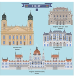 famous places in hungary vector image