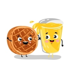 Funny baked pie and lemonade cartoon characters vector image