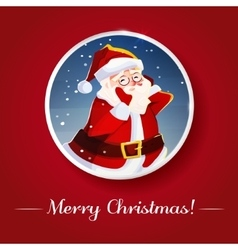 Funny santa Christmas greeting card background vector image