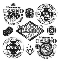 gambling and casino black emblems elements vector image