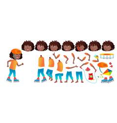 girl schoolgirl kid black afro american vector image