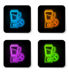 glowing neon blender with screwdriver and wrench vector image