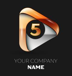 Golden number five logo in golden-silver triangle vector