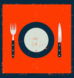 grunge kitchenware - fork knife and plate vector image