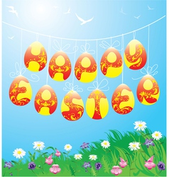 Hanging Easter eggs on spring blue sky background vector