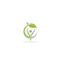 happy people green leaf wellness logo vector image