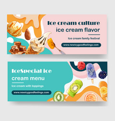 Ice cream banner design with fruits chocolate vector
