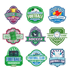 icons for soccer club football league team vector image