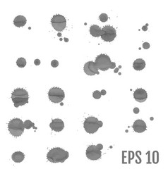 ink spots set on white background gray inks vector image