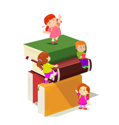 Kids climbing in stack of books vector