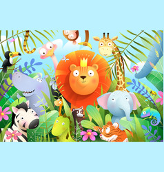 King jungle forest lion with kids baby animals vector