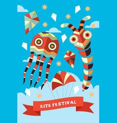 Kite festival poster vector