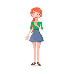 Laughing young woman cartoon flat character vector