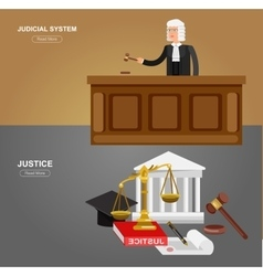 Law horizontal banner set with judical system vector image