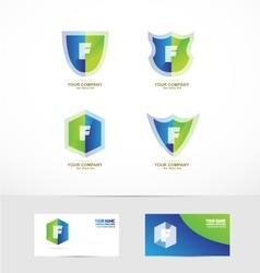 Letter f shield logo icon set vector