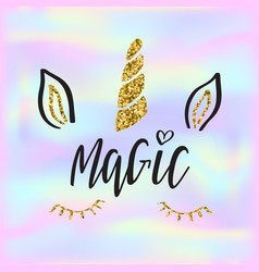 lettering text magic and unicorn face on vector image
