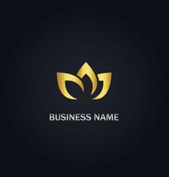 Lotus flower organic gold logo vector