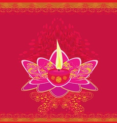 Lotus Oil Lamp vector image