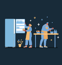 man and woman cooking vector image