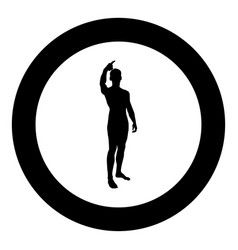 man shows his finger up concept silhouette icon vector image