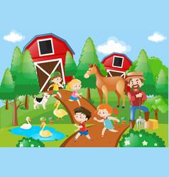 Many children and farmer in farmyard vector