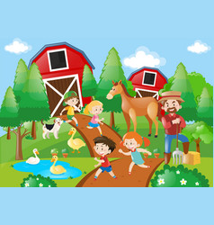 Many children and farmer in the farmyard vector
