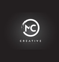 Mc circular letter logo with circle brush design vector