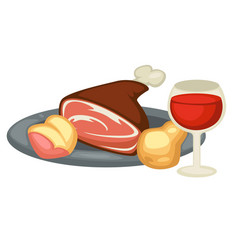 Meat leg pear and red wine renaissance traditional vector