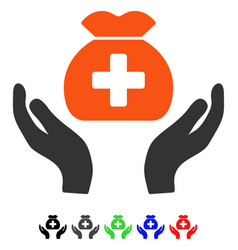 Medical fund care hands flat icon vector