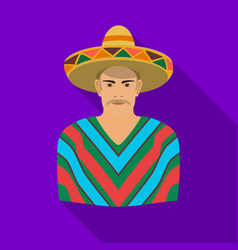 Mexican man in sombrero and poncho icon in flat vector