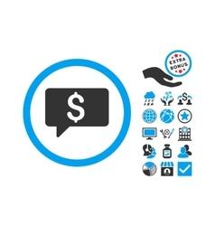 Money Message Flat Icon With Bonus vector image
