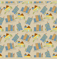 pattern seamless kids with building doodle vector image