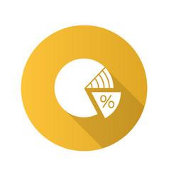 percentage pie chart flat design long shadow vector image