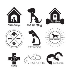 Pets logo and symbol black and white vector