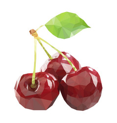 Polygonal cherry in low poly style cherry vector