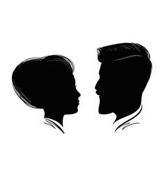 portrait man and woman head profile black vector image