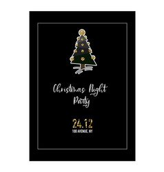 postcard with christmas glitter trees bells and vector image