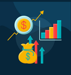 profit growth flat concept icon vector image