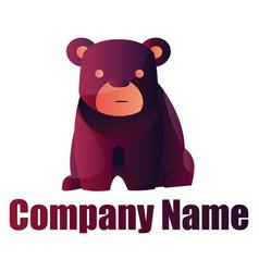 purple bear logo design on white background vector image
