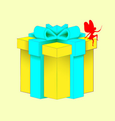 realistic volumetric yellow gift box with ribbon vector image