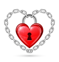 Red Heart Lock and Chains vector image
