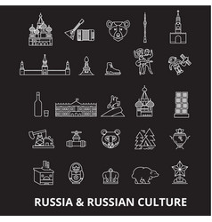 russia editable line icons set on black vector image
