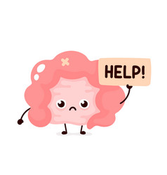 Sad suffering sick cute human intestine vector